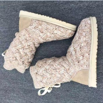 """UGG"" female fashion wool snow boots wool shoes Yellow"
