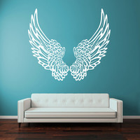 Wall Decal Vinyl Sticker Decals Art Decor Design Big Wings Angel God Guardian Bird Kids Children Nursery Bedroom Living Room (r1323)