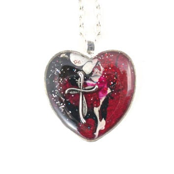 Christian Cross Heart Red Black White Faith Jewelry