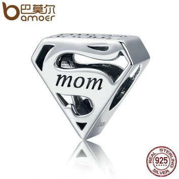 BAMOER Authentic 925 Sterling Silver Super Mom Mother Engrave Beads fit Charm Bracelets & Bangles Jewelry Mother Gift SCC429