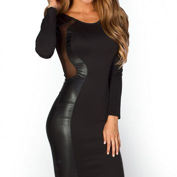 Sadira Solid Black Sheer Mesh Cut Out Optical Illusion Dress