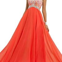 Dressytailor A-line One Shoulder Long Chiffon Prom Dress with Beads and Crystals