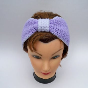Crochet Bow Headband - Spring Turban Ear Warmer - Head Wrap In Pastel Purple And White - Easter Gift Idea For Toddlers, Girls, Teens, Women