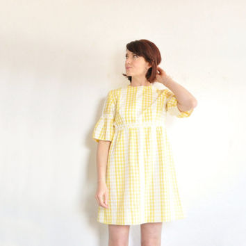 mod yellow gingham dress . folk sleeves . mini skirt .medium
