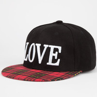 Love Plaid Bill Womens Snapback Hat Black One Size For Women 24213410001