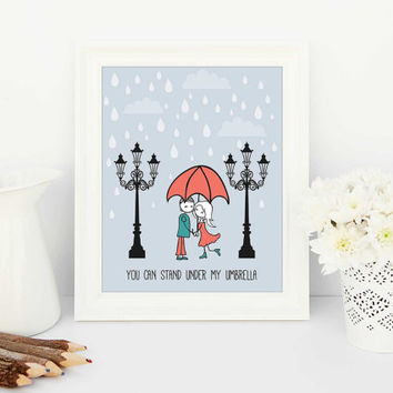 cute art, cute print, couple kissing, raining, under my umbrella, streetlights, street scene art, printable,  printable art,  kitchen print