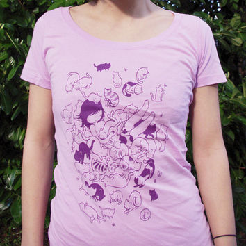 Kitty Heaven Shirt - lavender and purple silkscreen art tee