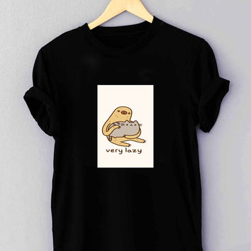 Pusheen cat and sloth - T Shirt for man shirt, woman shirt XS / S / M / L / XL / 2XL / 3XL**