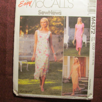 SALE Uncut McCall's Sewing Pattern, 4372! 10-12-14-16 Medium/Large/Women's/Misses/Sleeveless Sundress/Short Sleeve Dress/Petite/Scoop Neckli