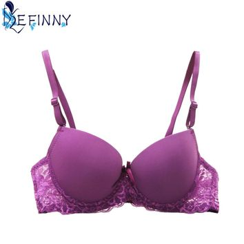 2018 Sexy Women Bra Lace Underwire Lovely Solid Fashion Adjust Push Up Bra 7 Colors AB Cup Intimates Lingerie Brassiere