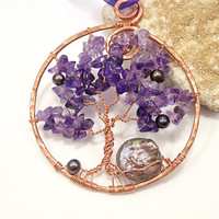 Amethyst Tree of Life Pendant Necklace Rear View Mirror Nature Mystic Protection Car Accessory Yoga Jewelry