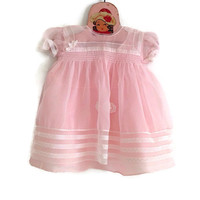 Vintage Pink Baby Dress-Sheer Acetate with Taffeta Slip-6 to 9 Months-Puff Sleeves-Smocking-Doll Clothes-Ribbons