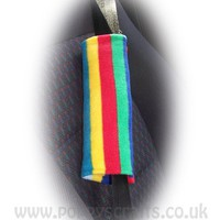 1 pair of Rainbow Stripe print fleece car seatbelt pads