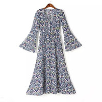 Blue Heart Print Vintage Retro V Neck Kimono Sleeve A Line Long Chiffon Maxi Dress
