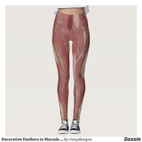 Decorative Feathers in Marsala Wine Leggings