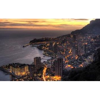 Monaco Monte Carlo Skyline poster Metal Sign Wall Art 8in x 12in