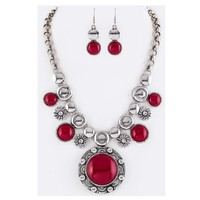 Pave Stone Silver Red Disc Necklace Set
