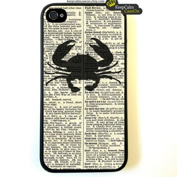 Iphone 4 Case Nautical Crab On Dictionary Page by KeepCalmCaseOn