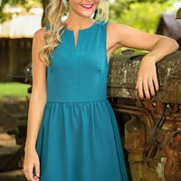 EVERLY: She's A Socialite Dress-Teal