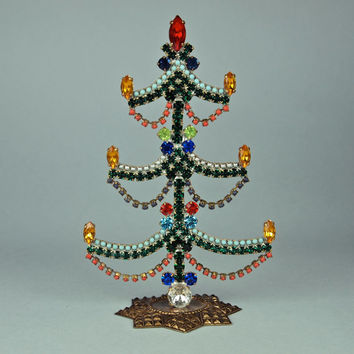 Czech Christmas Tree Rhinestone Green, Coral, Amber Bohemian Tabletop 1950's
