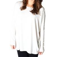 Authentic Piko Long Sleeve Top, Off White