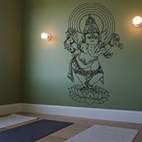 ik463 Wall Decal Sticker Room Decor Wall Art Mural Indian God Om Elephant Hindu Success Buddha India Ganesha Ganesh Hindu welfare bedroom meditation Yoga