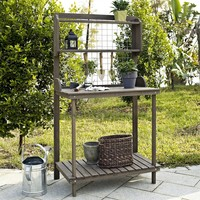 Dark Brown Wood Potting Bench Garden Planting Table with Bottom Shelf