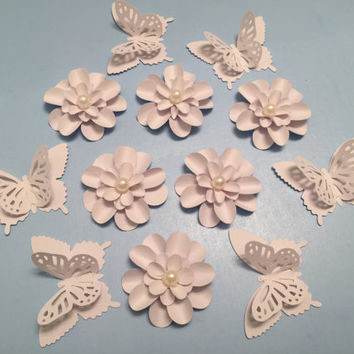 Scrapbooking, Cardstock Flowers, 3D Butterfly, Tags, Cards, Mixed Media, Paper Craft Supply, White Embellishments, Package Topper, Die Cuts