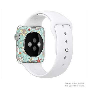 The Teal Vintage Seashell Pattern Full-Body Skin Kit for the Apple Watch