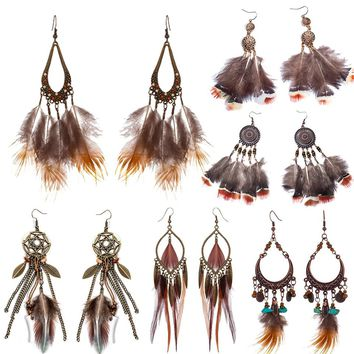 Variety Bohemian long brown feather earrings for women Fashion Ethnic dangle earing 2018 New Trendy Boho Ear Jewelry Accessories