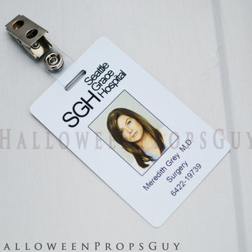 Grey's Anatomy Original Charactor ID Card with Clip.  Your Choice - Grey, Torres, Sheperd, Robbins, Hunt, Lexie.