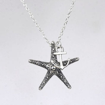 Nautical necklace  Starfish and Anchor necklace. Charm necklace