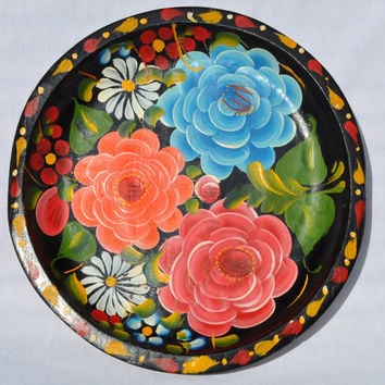 Vivid Floral Folk Art Mexican Bate Vintage Wood Tole Tray Plate Bowl Black Orange Blue Red