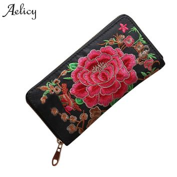 Aelicy 2018 New Flower Embroidered Wallet Purse Handmade Ethnic Flowers Embroidery Fashion Women Long Wallet Phone HandBag