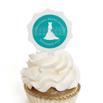 Wedding Dress Aqua - Personalized Bridal Shower Cupcake Pick and Sticker Kit - 12 ct