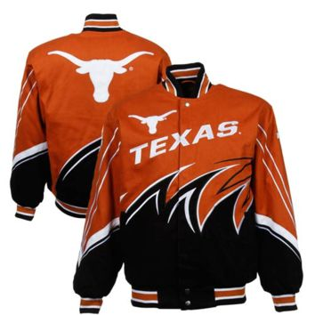 Texas Longhorns Slash Twill Full Button Jacket - Burnt Orange/Black