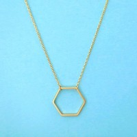 Hexagon, Gold, Silver, Necklace, Geo, Honey, Bee, Comb, Necklace
