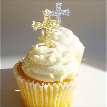 Cupcake Toppers, Baptism, Communion, Glitter Cross, Silver And Gold, Party Decorations, Appetizer Picks, Dessert Buffet Sticks, Set Of 24