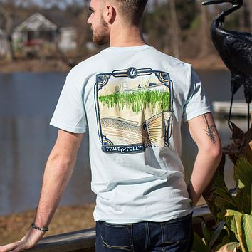 Redfish Tail with Boat T-Shirt in Chambray by Fripp & Folly