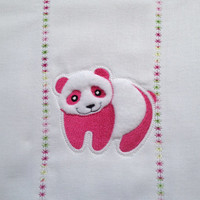 Pink and White Panda Bear Burp Cloth for Baby Girls. It can be personalized for an extra charge.
