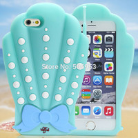"3D Conch Mermaid Sea Shells Bowknot  Soft Phone Cases for iPhone 6 Plus & 6 6S 5S 5G 4.7""/5.5"" Silicon Rubber Mobile Phone Cover"