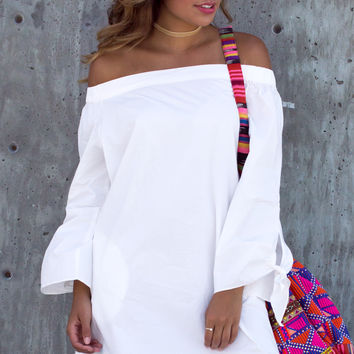 Genie White Off The Shoulder Sleeve Bow Dress