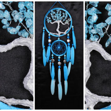 Blue Dream Catcher Tree of life Dreamcatcher quartz Dream сatcher blue quartz dreamcatchers decor wall handmade blue gift Valentine's Day