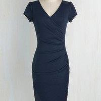 Pinup Long Cap Sleeves Bodycon I Think I Can Dress in Navy