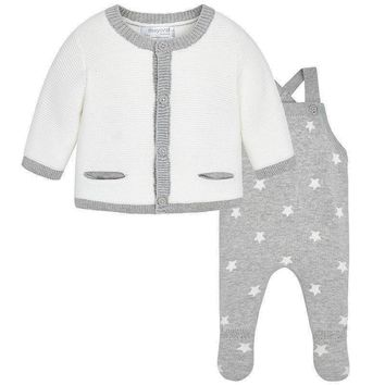 Mayoral Baby Boys' Grey Knit Overall Sweater Set