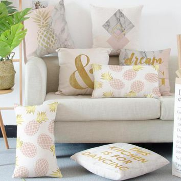 Pink and Gold Decorative Cushion Case
