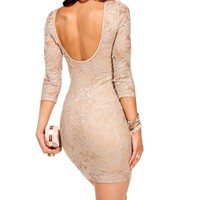 Taupe Long Sleeve Lace Dress