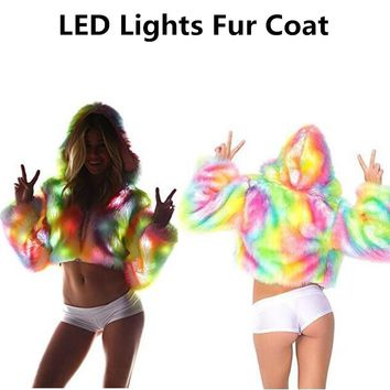 2017 Autumn Winter New Dope Rainbow Color LED Lights Long Sleeve Hooded Faux Fur Coat Jacket Halloween Christmas Party Costume