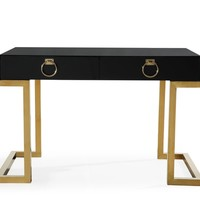 Majesty Office Desk High-gloss Black and Gold