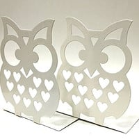 """7"""" Inches Tall - Owls Metal Bookends - BIG Cute Lightweight Baby Owls - Great Decor for Little Ones Nursery, Childrens Bedroom, Kids Playroom or Fun and Unique Owllover Gift"""